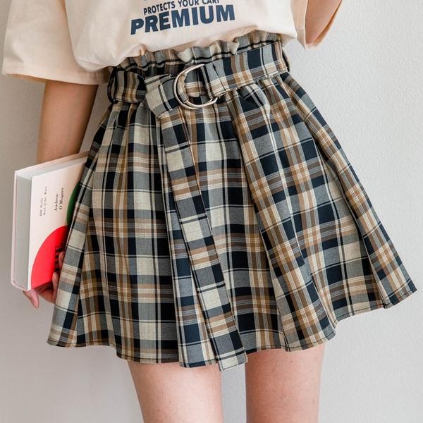 MIUSTAR 附腰帶!荷葉花苞格紋棉麻短褲裙(共9色)【NJ0332】預購