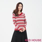 【RED HOUSE 蕾赫斯】V領條紋針織衫(共2色)