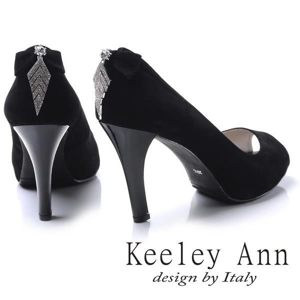 ★2017秋冬★Keeley Ann高雅奢華~魅力菱形水鑽墜飾素面高跟魚口鞋(黑色)