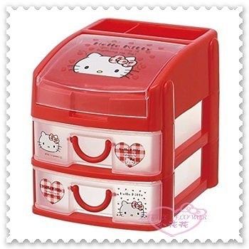 ♥小花花日本精品♥ Hello Kitty 三層收納盒 桌上收納盒 文具收納盒 大臉 愛心 日本限定 (預購)