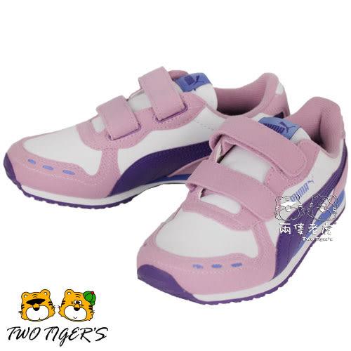 Puma Cabana Racer SL V 粉/紫 麂皮/皮革 魔鬼氈運動鞋 中童鞋 NO.R1954