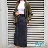 高腰多口袋擊帶中長款A字牛仔半身裙