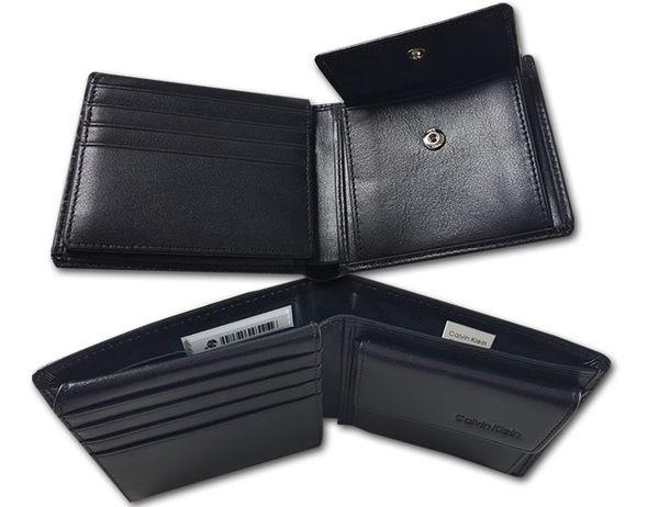 【CK】Calvin Klein 牛皮夾 零錢袋多卡夾+CK鑰匙圈套組/黑色