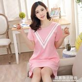 純棉睡衣女夏季可愛卡通性感女士短袖睡裙寬鬆韓版學生全棉家居服