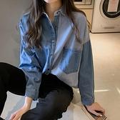 牛仔襯衣女長袖襯衫2021秋冬新款韓版中長款寬鬆上衣百搭外套 韓國時尚週 免運