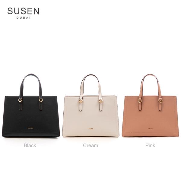 SUSEN 簡約方形手提側背中包(多色任選)