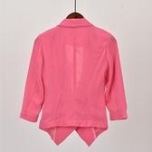 西裝外套 西裝春夏新款素色V領七分袖休閒百搭外貿原單尾貨女裝簡約外套 交換禮物