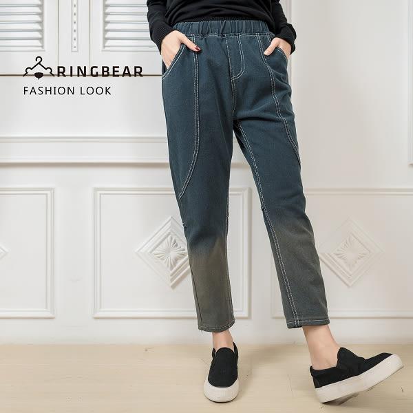 長褲--美式復古時尚刷色漸層2D效果顯瘦裝飾線鬆緊褲頭哈倫褲(灰M-5L)-N72眼圈熊中大尺碼