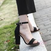 高跟鞋粗跟女一字扣涼鞋大尺碼春夏新款正韓百搭女鞋流蘇毛毛鞋