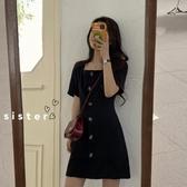 短袖洋裝 春裝2020新款方領復古裙子仙女超仙森系學生收腰法式連衣裙女春秋