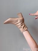 馬丁靴馬丁靴女英倫風2020新款春秋季單靴方頭粗跟網紅瘦瘦高跟鞋短靴子 suger