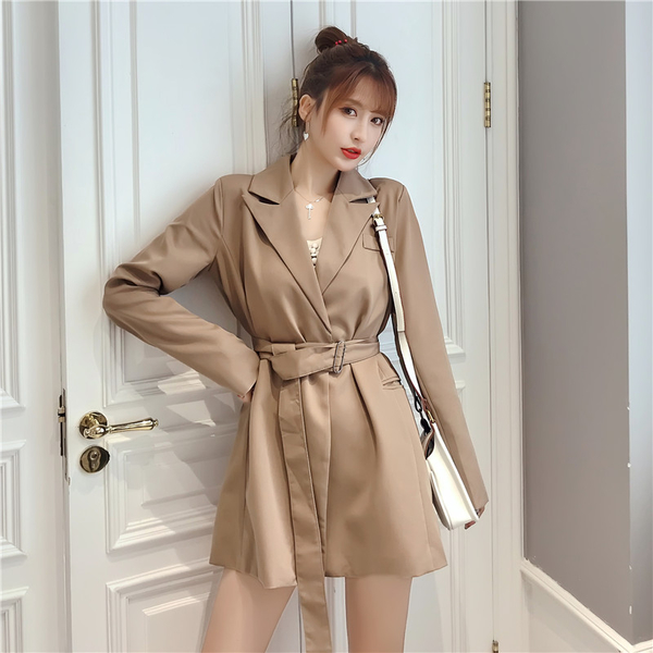 VK旗艦店 韓國風西裝領氣質風衣長袖洋裝