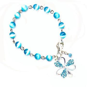 藍貓眼珠與藍水鑽幸運草手鍊