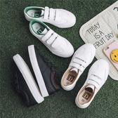 新款春季帆布鞋女百搭小白鞋學生魔鬼氈女鞋韓版懶人鞋白鞋子
