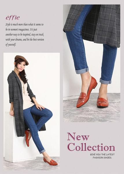 effie 輕透美型 鏡面羊皮混異材質樂福平底鞋 橘色