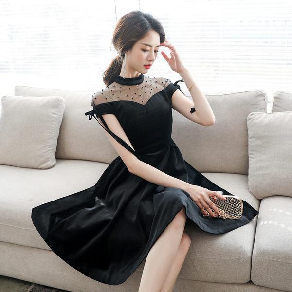 VK旗艦店 韓國風名媛氣質加厚絲絨一字領黑色性感網紗短袖洋裝