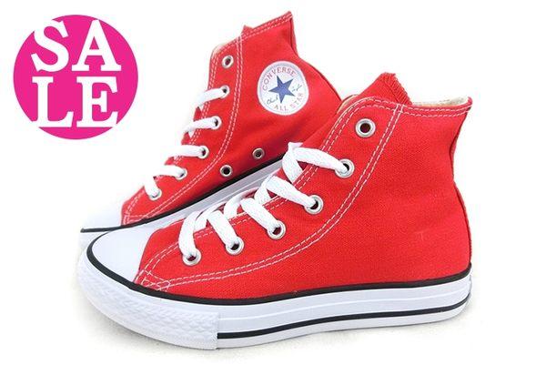 All STAR★Converse帆布鞋 中童基本款高筒帆布鞋G9817#紅◆OSOME奧森童鞋/小朋友 零碼出清