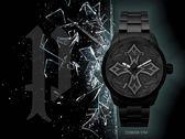 【時間道】POLICE 搖滾風格十字架造型腕錶/黑面黑鋼帶(15396JSB-57M)免運費