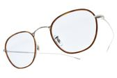 OLIVER PEOPLES 太陽眼鏡 EOIN 5036 (琥珀銀-藍鏡片) 拚色復古圓框款 墨鏡 # 金橘眼鏡