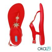 【Oka-B】JESS光芒晶亮配飾T字夾腳休閒涼拖鞋  紅色(K402JE-RE)