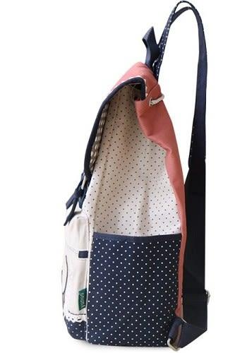 時尚學院風學生書包雙肩包韓版帆布背包女包..2色..流行線