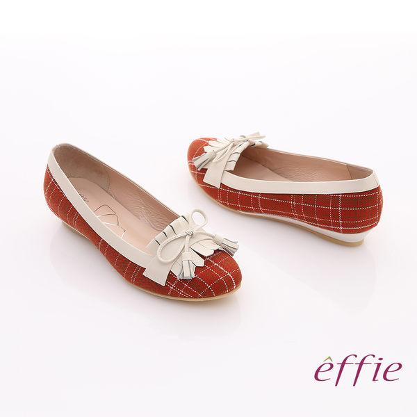 effie 慵懶英倫 格紋流蘇細蝴蝶飾楔型鞋 紅色