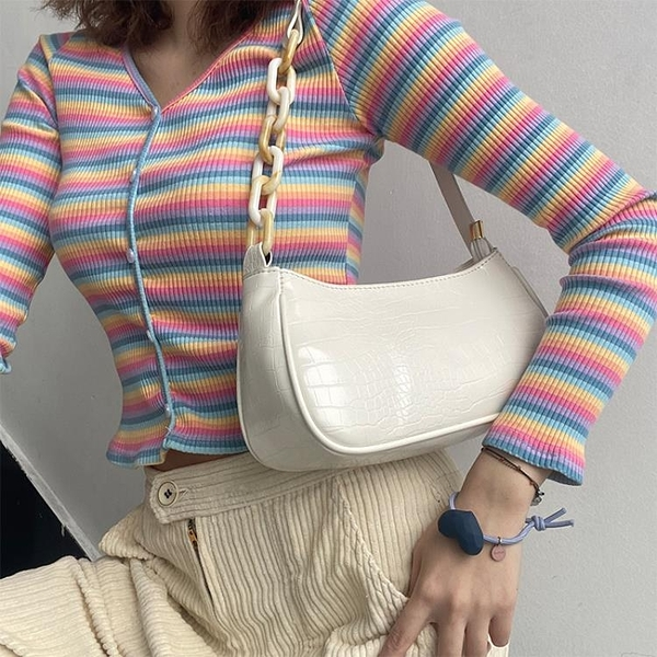 奶茶色亞克力腋下包法棍包女包包新款潮網紅復古手提單肩包 - 風尚3C