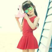 女童泳衣蝴蝶結兒童泳裝公主裙式韓國中大童連體三角溫泉學生保守