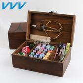 針線盒 套裝針線包家用韓國縫紉線針線收納盒十字繡工具實木針線盒 卡菲婭
