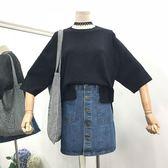 夏季新款純色寬松顯瘦百搭上衣韓版氣質簡約短袖針織衫女