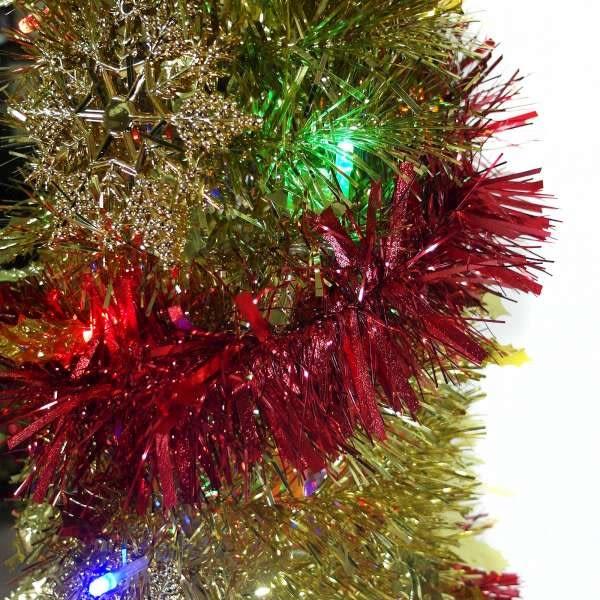 6尺(180cm) 彈簧摺疊金色哈利葉瘦型鉛筆樹聖誕樹 +LED100燈四彩光一串+紅系吊飾品組(本島免運費)