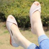 嘴坡涼鞋 女夏新款真皮軟舒適中老年魚跟中跟平底涼鞋 sxx2653 【大尺碼女王】