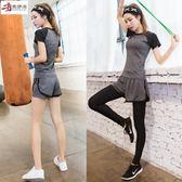 售完即止-瑜伽運動套裝女專業健身服健身房韓國跑步兩件套短袖短褲戶外11-3(庫存清出S)