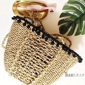草編包 草編包包黑絨球花邊網紅款女士休閒包編織包女包小清晰沙灘包  父情節禮物