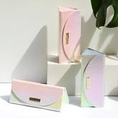 炫彩鐳射三角盒折疊清新皮革 女簡約墨鏡太陽鏡盒便攜眼鏡盒 ☸mousika