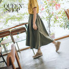 Queen Shop【03030231】基本百搭素色後鬆緊傘擺裙 兩色售*現+預*