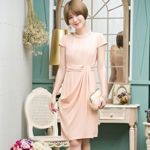 優雅氣質修身顯瘦腰間褶皺短袖連衣裙洋裝~美之札