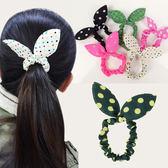韓版點點蝴蝶結兔耳鬆緊髮圈/髮飾 乙入 隨機出貨不挑款/色 ◆86小舖◆
