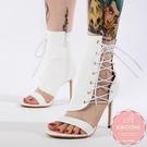 高跟涼鞋 雪白鱷魚紋側邊馬甲綁帶細跟 高跟鞋 晚宴鞋 新娘鞋 大尺碼35-40*Kwoomi-A62