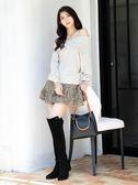 秋冬8折[H2O]一片式波浪裙設計短褲裙 - 黑/豹紋/粉色 #9638002