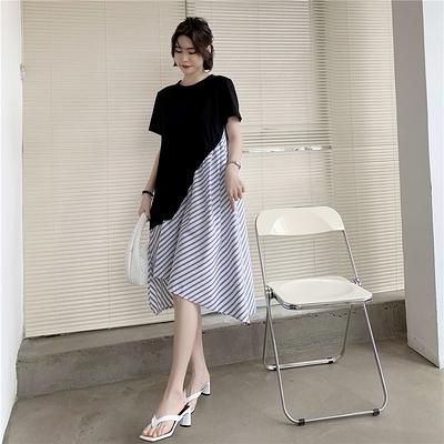 L-3XL胖妹妹大碼洋裝連身裙~大碼不規則設計黑白條紋拼接假兩件連身裙FFD12衣時尚