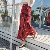 民族風長裙 碎花沙灘裙民族風復古半長裙一片式高腰開叉泰國花半身裙子