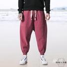 亞麻褲中國風褲子男運動九分褲哈倫褲寬松大...