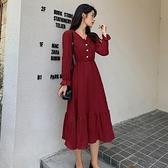 雪紡洋裝 秋季新款爆款桔梗法式復古氣質長裙收腰顯瘦酒紅色長袖洋裝 雙十二全館免運