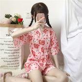 2018新款夏季女裝韓版學生寬鬆日系和服睡衣居家兩件套可外穿薄款