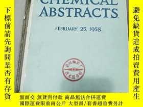 二手書博民逛書店CHEMICAL罕見ABSTRACTS VL.52 NO.4 1958 化學文摘 英文原版 有水漬Y35685