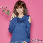Victoria 挖袖剪接變化長袖線衫-女-藍色