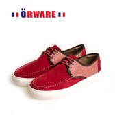 ORWARE-反毛皮綁帶休閒板鞋/男款 622047-09(紅)