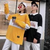 polo衫翻領薄款衛衣可口可樂寬鬆套頭長袖學生男BF風衛衣 歐韓流行館