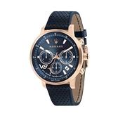 【Maserati 瑪莎拉蒂】GT藍面光動能三眼計時腕錶-藍金款/R8871134003/台灣總代理公司貨享兩年保固